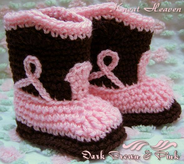Boutique Crochet Cowboy Boots Baby Booties | Kneat Heaven