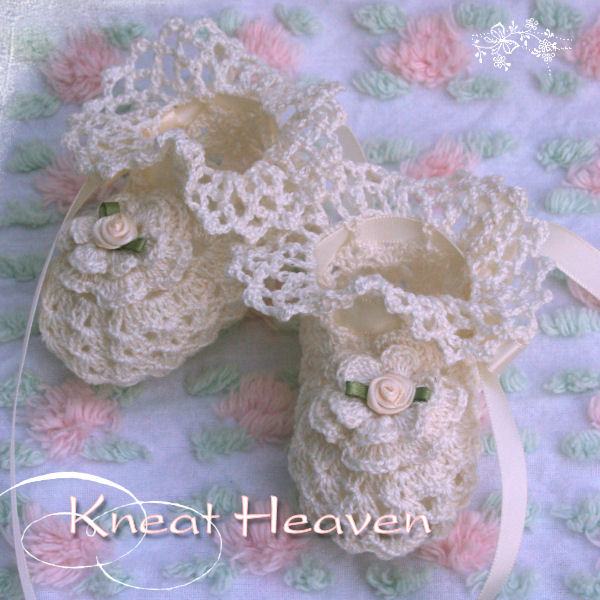 Boutique Crochet Irish Rose Baby Booties Kneat Heaven