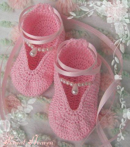 Crochet Ballet Slippers Baby Booties Pattern Kneat Heaven